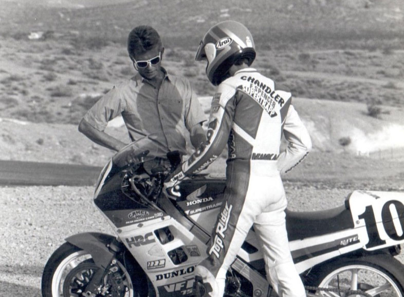 1984-Starts-training-dirtracker-Doug-Chandler-in-roadracing